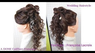 """Coiffure bouclée """"mariage""""-""""Wedding"""" curled hairstyle-Peinado con rizos para boda"""