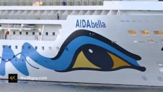 4K UHD - Woman standing on small deck on huge ocean liner