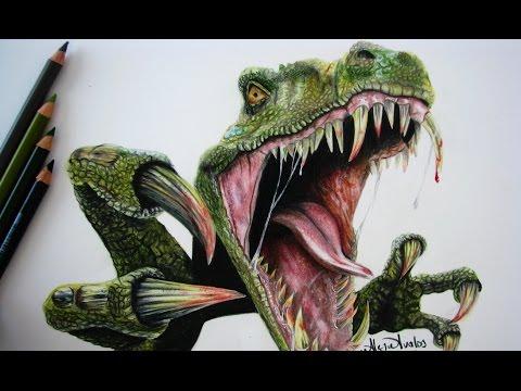 Drawing a Tyrannosaurus T Rex Dibujando un dinosaurio Tiranosaurio Rex