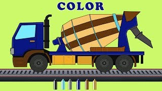 Kids Tv Channel | Concrete Mixer With Equipment | Construction Vehicle Coloring Video