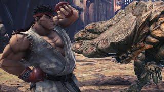 Street Fighter's Ryu Hunts a Giant Barroth in Monster Hunter World