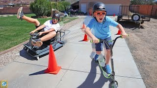Ride on Cars vs Drift Scooters vs Power Wheels Race!