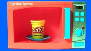 Just Like Home Microwave Oven Toy Play-Doh Surprises 。◕‿◕。 with Anna Elsa Frozen in the Kitchen
