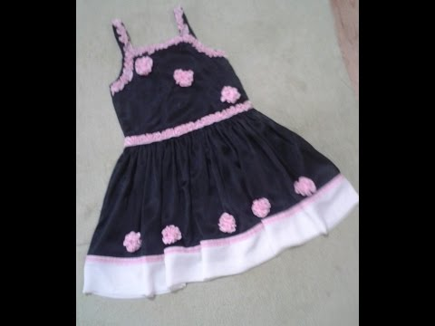 How To Cutting And Sewing Baby Girl Black Pearl Frock With Pink Flowers