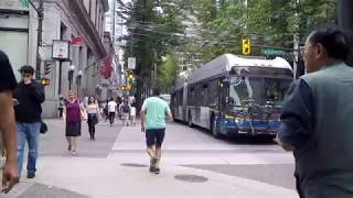 Walking In Downtown Vancouver BC Canada. City Life On Granville Street.