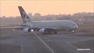 Grand Welcome ! Etihad Airways Airbus A380 arrives at Terminal 2 in Mumbai, India