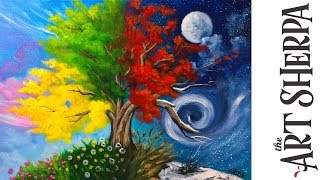 How to paint with Acrylic on Canvas 4 season Tree step by step tutorial