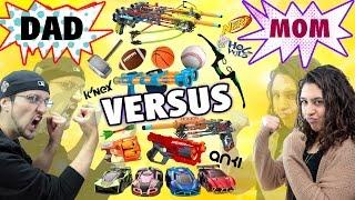 Mom vs. Dad! The Ultimate Toys/Game Battle Challenge! NERF, ANKI Overdrive, K'Nex, Avengers + more