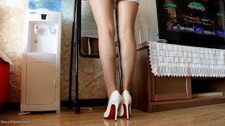 Stiletto High Heels Girl Beauty Leg with Nylons Silk Stockings Part032
