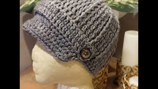 Download Tutorial How to Crochet a 9-12 month old baby Newsboy Beanie. 3Gp Mp4