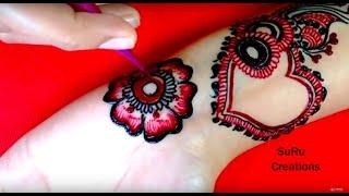 Multi-colour Heart Shape Mehndi Design | Lovely Heart Henna Design |  2018