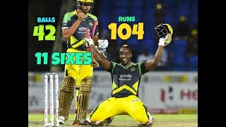 Andre Russel 104 runs in 42 Balls in CPL T20 - Jammica Tallahwahs vs Trinibago Knight Riders