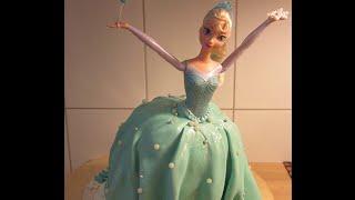 كيكة باربي إلسا من فيلم ديزني فروزن Elsa Cake Inspired by Ann Reardon