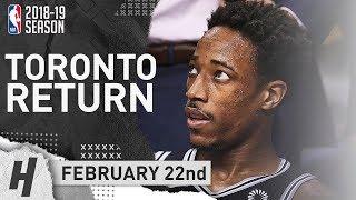DeMar DeRozan TORONTO RETURN Full Highlights Spurs vs Raptors 2019.02.22 - 23 Points!