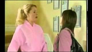 Andrée Bernard Hollyoaks losing towel Liz taylor Burton TV comedy scene