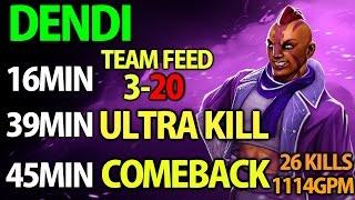 Dendi Dota2 [Anti Mage] Supa Comeback with Team Feed & 1114GPM