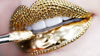 Makeup Tutorial Step by Step Using Gold Pigment & Studs | Lip Art