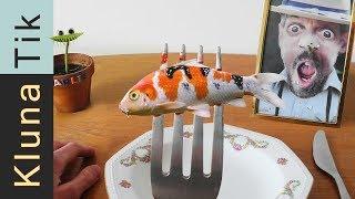 BABY KOI CARP for LUNCH!!! Kluna Tik Dinner #78   ASMR eating sounds no talk