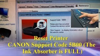 Reset Printer CANON Support Code  Error 5B00 || The Ink Absorber is FULL ||