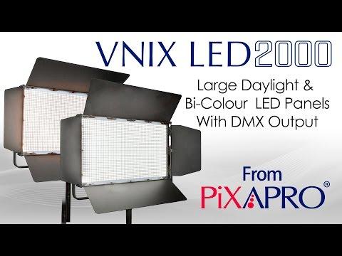 PIXAPRO VNIX LED 2000S Single Colour Daylight and 2000B Bi-Colour LED Panel With DMX Output