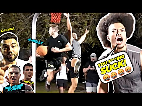 You F ING SUCK YouTubers vs D1 & Pro Hoopers GETS HEATED Ballislife Squad vs TRASH TALKERS