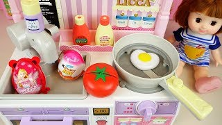Baby doll Kitchen cooking food toys with surprise eggs play