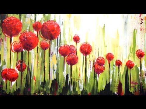 Como pintar con acrílicos Cuadro Flores en el jardin