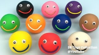 Learn Colours Play Doh Smiley Face Paw Patrol Elmo Peppa Molds Kinder Joy Mickey Mouse Surprise Eggs