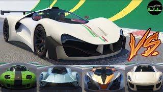 GTA 5 Top Speed Drag Race (Grotti Visione vs. X80, Vagner, T20, 811, Banshee, Itali GTB, XA-21)