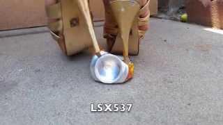 Metallic gold high heels stiletto sandals crush and destroy Kern's aluminum can  PT1
