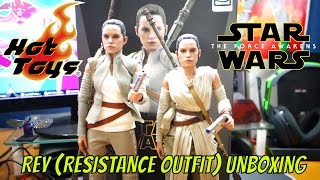 Star Wars Episode VII The Force Awakens Rey (Resistance Outfit) 1/6 Scale Hot Toys Figure Unboxing