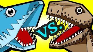 """MINECRAFT SHARK VS. DINO! """"My Cute Shark Attack Cartoon #39 (+BEST OF!) kids cartoon!"""