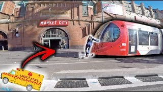 SCOOTER KID HIT BY TRAM! *CAUGHT ON CAMERA!*