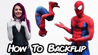 Spiderman Teaches Backflip to Spider Gwen (How To Parkour)