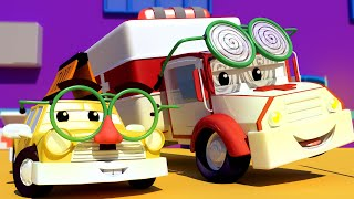 Baby Jeremy the TAXI has a HEADACHE! - Amber the Ambulance in Car City l Cartoons for Children