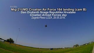 Mig-21UMD Croatian Air Force 164 landing (cam B)(DanOSRH, Zagreb-Jarun 28.05.2016.)