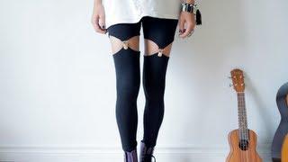 DIY garter leggings - suspender leggins tutorial