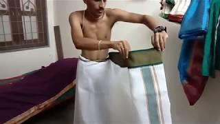 Easy way to wearing panchakacham பஞ்சகச்சம் அணியலாம் வாங்கோ!!