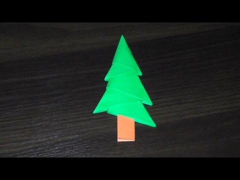 The simplest 3D origami tree (Christmas tree), a master class for beginners