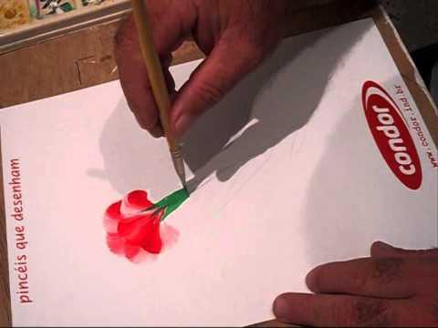 Pintura Gestual Cravo Vermelho