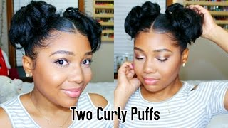 How To: TWO CURLY PUFFS | Double Buns Tutorial!