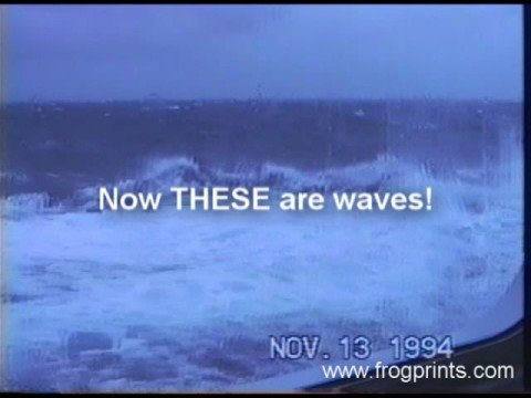 Cruise ship in tropical storm waves
