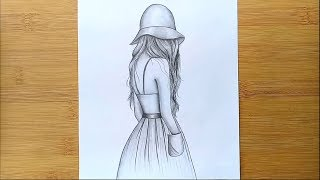 Easy way to draw a girl with hat - step by step     Pencil sketch
