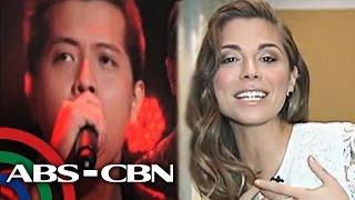 Christina Perri listens to Jason Dy