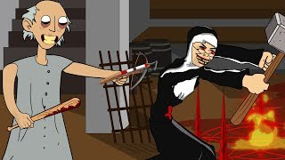 GRANNY THE HORROR GAME ANIMATION #22 : EVIL NUN Vs Scary Granny DAY 2