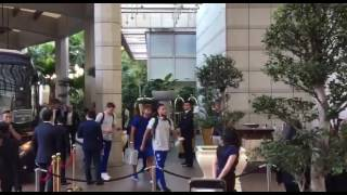 Chelsea players arrive at The Ritz-Carlton in Singapore
