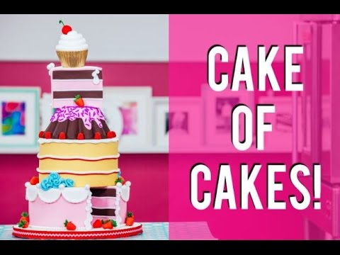 How To Make A CAKE OF CAKES Chocolate Coconut Raspberry and Pink Vanilla