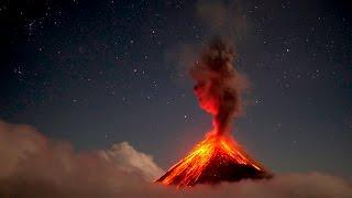 Volcan de Fuego erupting at night in 4K