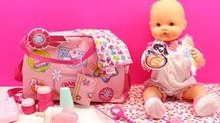 Bolso Cambiador y Accesorios para la muñeca Bebé Baby Born   La Bebé Nenuco hace popó