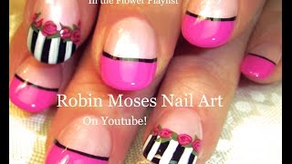 Easy Pink rose Nails | Black and White stripes Nail Art Design Tutorial